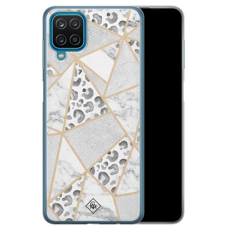 Casimoda Samsung Galaxy A12 siliconen telefoonhoesje - Stone & leopard print