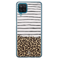 Casimoda Samsung Galaxy A12 siliconen telefoonhoesje - Leopard lines