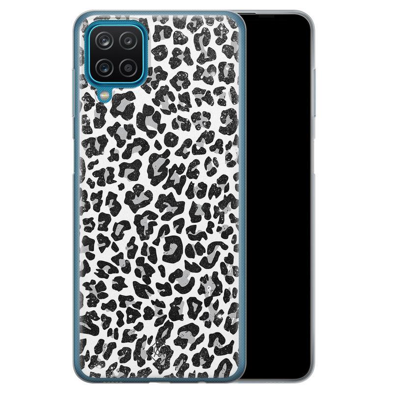 Casimoda Samsung Galaxy A12 siliconen telefoonhoesje - Luipaard grijs