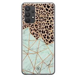 Casimoda Samsung Galaxy A32 4G siliconen hoesje - Luipaard marmer mint