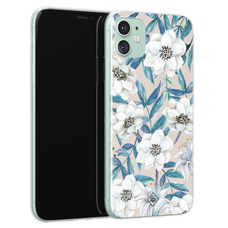 Casimoda iPhone 11 siliconen telefoonhoesje - Touch of flowers