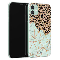 Casimoda iPhone 11 siliconen hoesje - Luipaard marmer mint