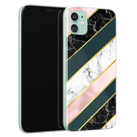 Casimoda iPhone 11 siliconen hoesje - Marble stripes