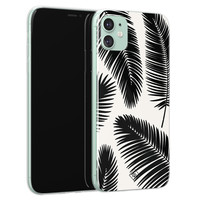 Casimoda iPhone 11 siliconen telefoonhoesje - Palm leaves silhouette