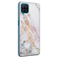 Casimoda Samsung Galaxy A12 siliconen telefoonhoesje - Parelmoer marmer
