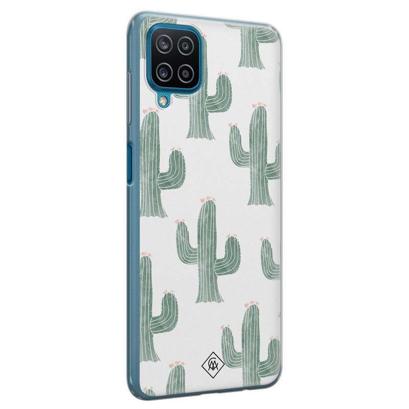 Casimoda Samsung Galaxy A12 siliconen telefoonhoesje - Cactus print
