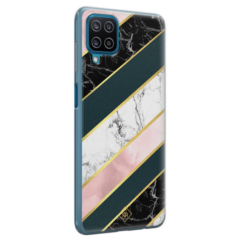 Casimoda Samsung Galaxy A12 siliconen hoesje - Marble stripes