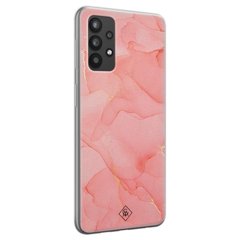 Casimoda Samsung Galaxy A32 4G siliconen hoesje - Marmer roze