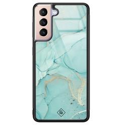 Casimoda Samsung Galaxy S21 glazen hardcase - Touch of mint