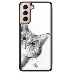 Casimoda Samsung Galaxy S21 glazen hardcase - Peekaboo