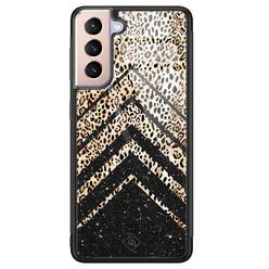 Casimoda Samsung Galaxy S21 glazen hardcase - Chevron luipaard