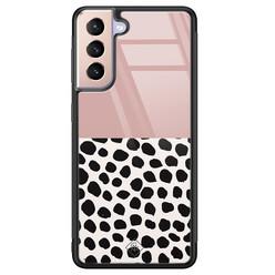 Casimoda Samsung Galaxy S21 glazen hardcase - Pink dots