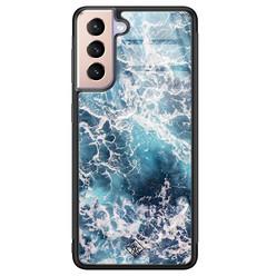 Casimoda Samsung Galaxy S21 glazen hardcase - Oceaan