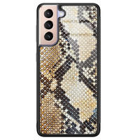 Casimoda Samsung Galaxy S21 Plus glazen hardcase - Golden snake