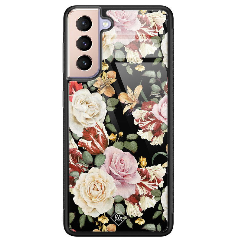 Casimoda Samsung Galaxy S21 Plus glazen hardcase - Flowerpower