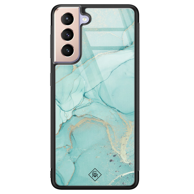 Casimoda Samsung Galaxy S21 Plus glazen hardcase - Touch of mint