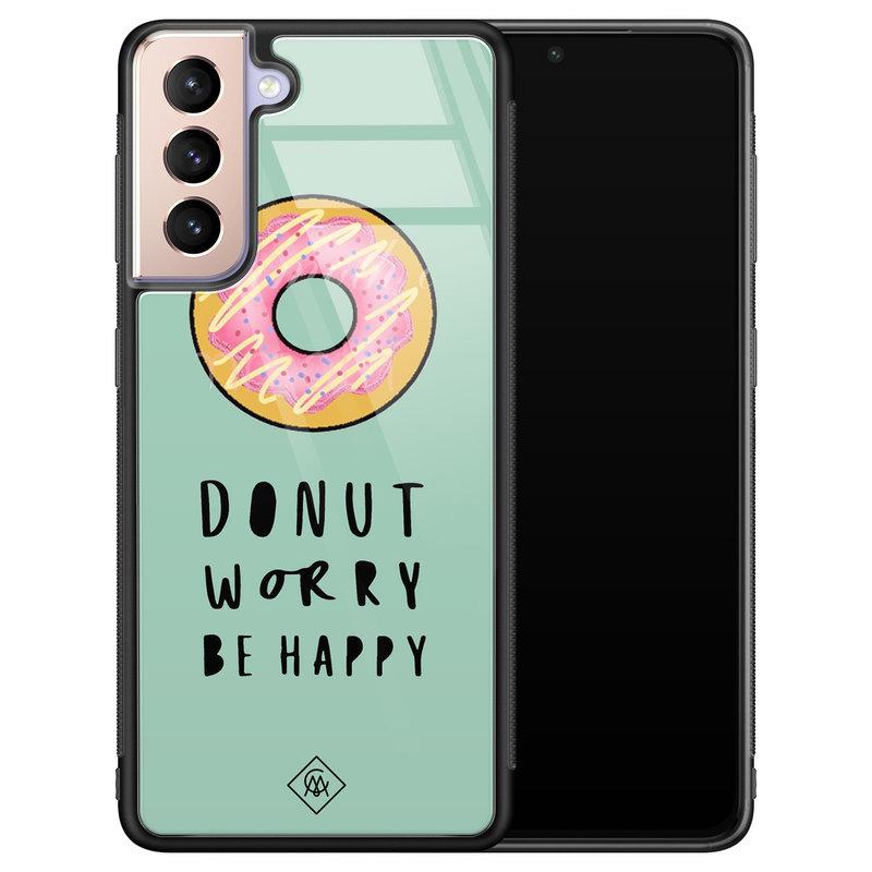 Casimoda Samsung Galaxy S21 Plus glazen hardcase - Donut worry