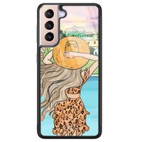 Casimoda Samsung Galaxy S21 Plus glazen hardcase - Sunset girl