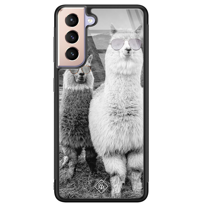 Casimoda Samsung Galaxy S21 Plus glazen hardcase - Llama hipster