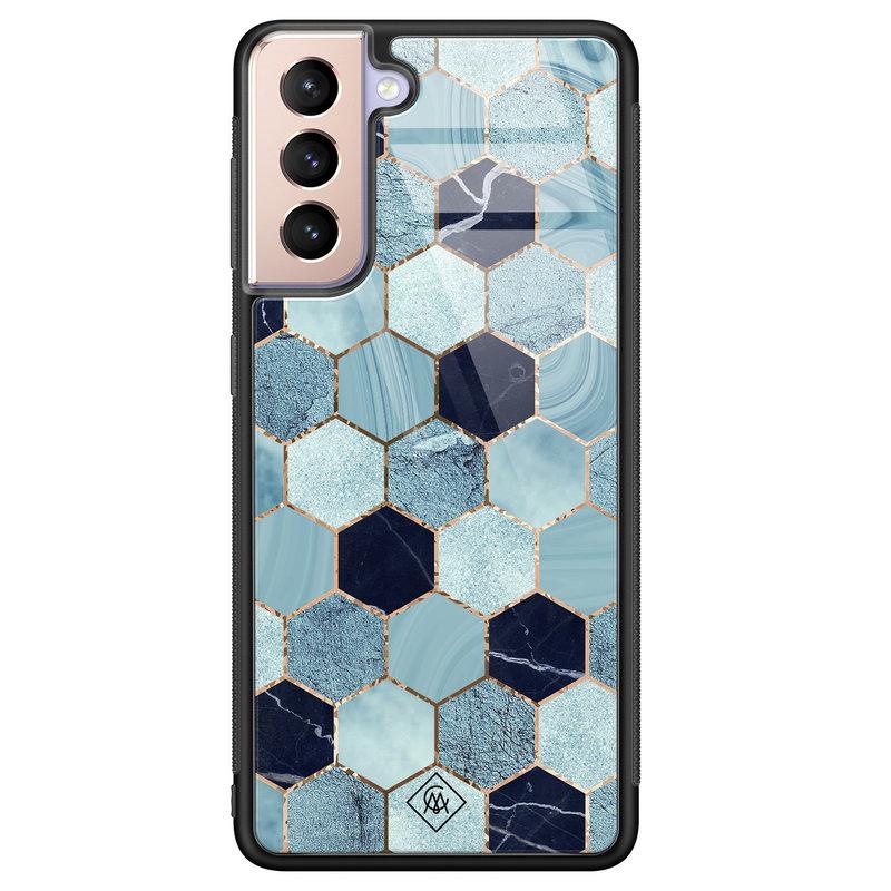 Casimoda Samsung Galaxy S21 Plus glazen hardcase - Blue cubes