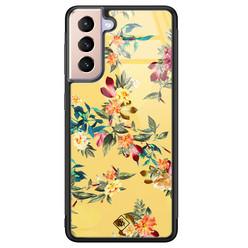 Casimoda Samsung Galaxy S21 Plus glazen hardcase - Florals for days