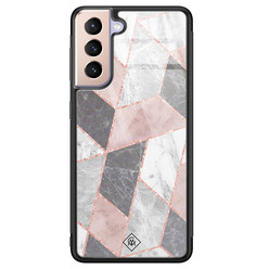 Casimoda Samsung Galaxy S21 Plus glazen hardcase - Stone grid
