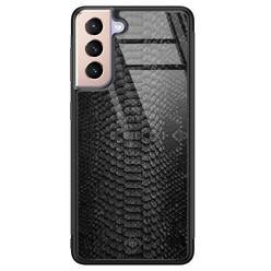 Casimoda Samsung Galaxy S21 Plus glazen hardcase - Black croco