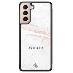 Casimoda Samsung Galaxy S21 Plus glazen hardcase - C'est la vie