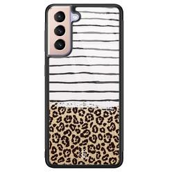 Casimoda Samsung Galaxy S21 Plus glazen hardcase - Leopard lines