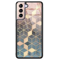 Casimoda Samsung Galaxy S21 Plus glazen hardcase - Cubes art