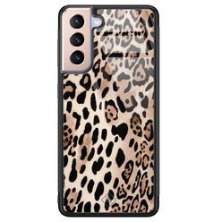 Casimoda Samsung Galaxy S21 Plus glazen hardcase - Golden wildcat