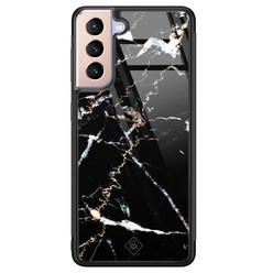 Casimoda Samsung Galaxy S21 Plus glazen hardcase - Marmer zwart