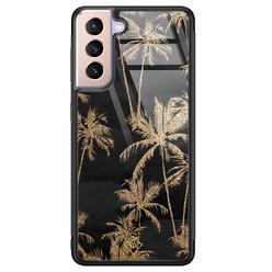 Casimoda Samsung Galaxy S21 Plus glazen hardcase - Palmbomen