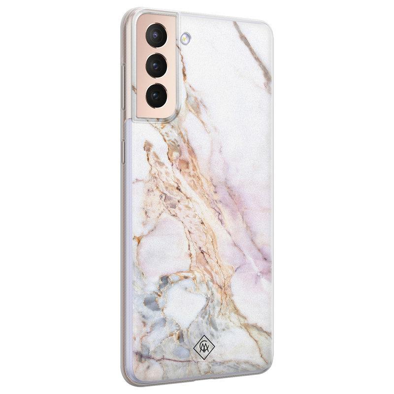 Casimoda Samsung Galaxy S21 Plus siliconen telefoonhoesje - Parelmoer marmer