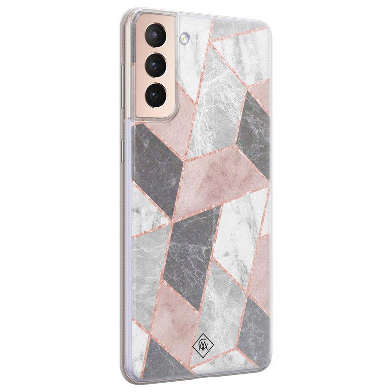 Casimoda Samsung Galaxy S21 Plus siliconen telefoonhoesje - Stone grid