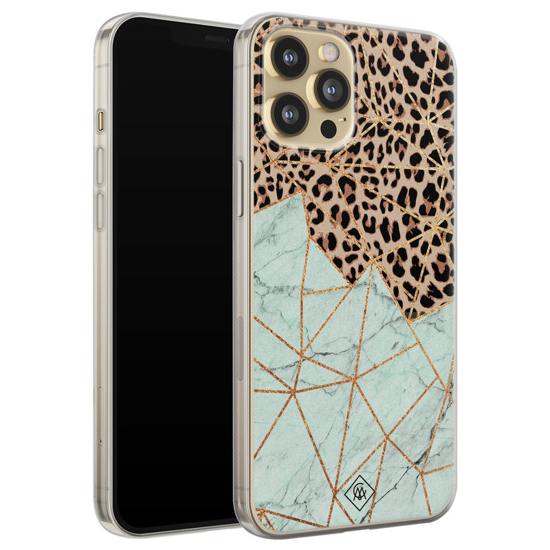 Casimoda iPhone 12 Pro siliconen hoesje - Luipaard marmer mint