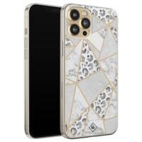 Casimoda iPhone 12 Pro siliconen telefoonhoesje - Stone & leopard print