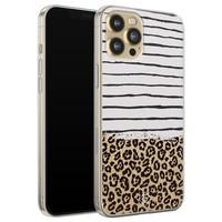Casimoda iPhone 12 Pro siliconen telefoonhoesje - Leopard lines