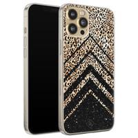Casimoda iPhone 12 Pro siliconen hoesje - Chevron luipaard