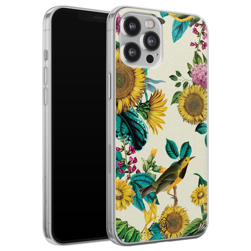 Casimoda iPhone 12 Pro Max siliconen hoesje - Sunflowers