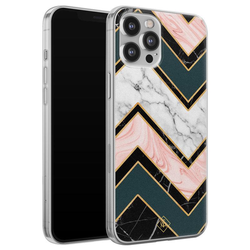 Casimoda iPhone 12 Pro Max siliconen hoesje - Marmer triangles