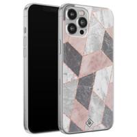 Casimoda iPhone 12 Pro Max siliconen telefoonhoesje - Stone grid