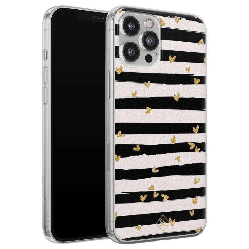 Casimoda iPhone 12 Pro Max siliconen telefoonhoesje - Hart streepjes