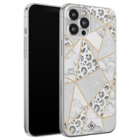 Casimoda iPhone 12 Pro Max siliconen telefoonhoesje - Stone & leopard print