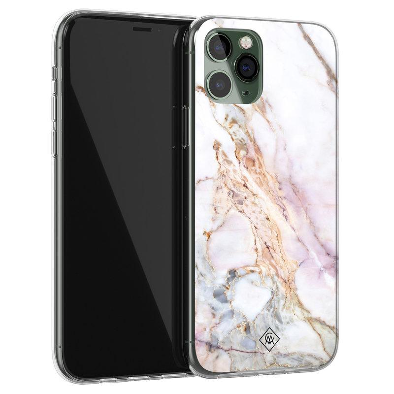 Casimoda iPhone 11 Pro siliconen telefoonhoesje - Parelmoer marmer