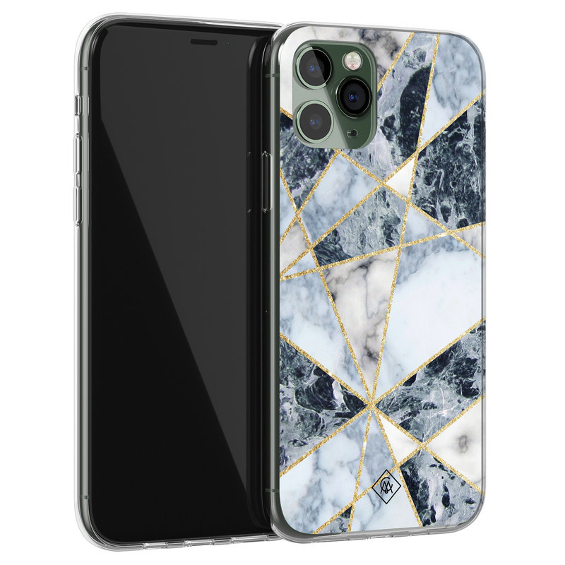 Casimoda iPhone 11 Pro siliconen hoesje - Marmer blauw