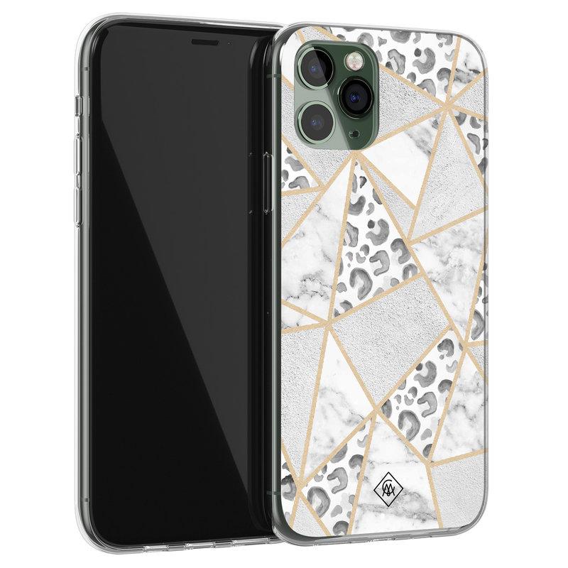 Casimoda iPhone 11 Pro siliconen telefoonhoesje - Stone & leopard print