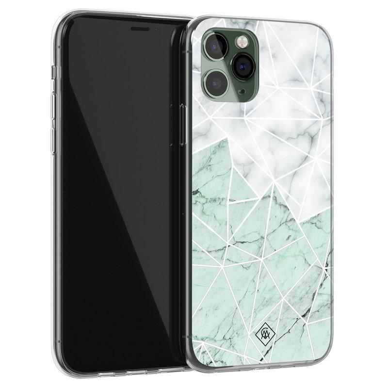 Casimoda iPhone 11 Pro siliconen telefoonhoesje - Marmer mint mix