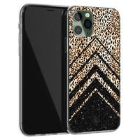 Casimoda iPhone 11 Pro siliconen hoesje - Chevron luipaard