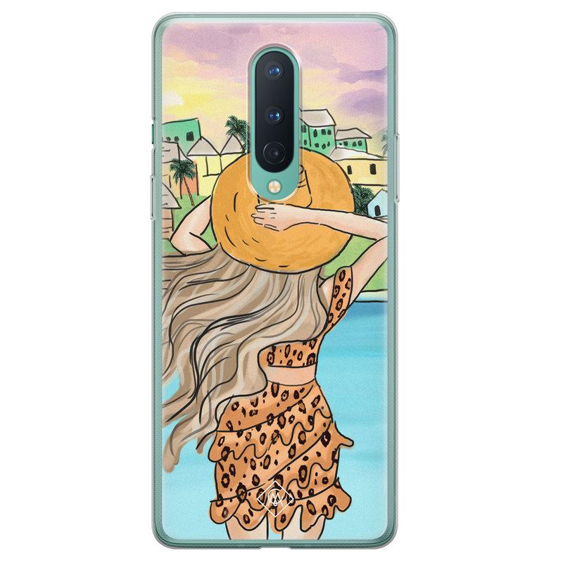 Casimoda OnePlus 8 siliconen hoesje - Sunset girl